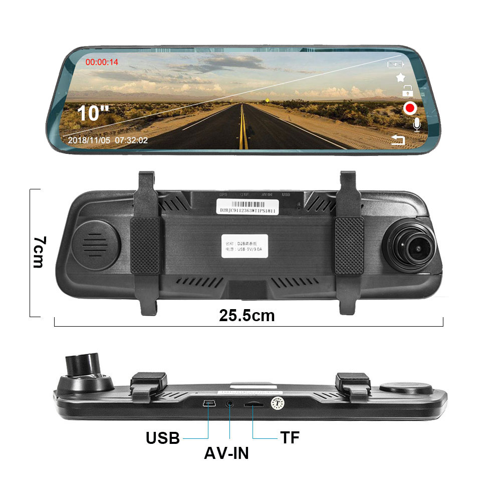 Promotional rearview mirror camera full hd 1080P dual lens car front and rear view camera With CE Rohs