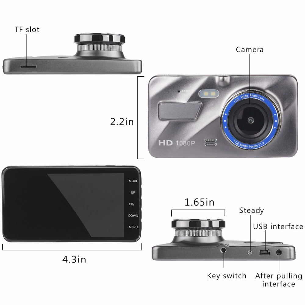 full hd 1080p dual camera dash cam 170 degree loop recording channel 2 camera car dvr